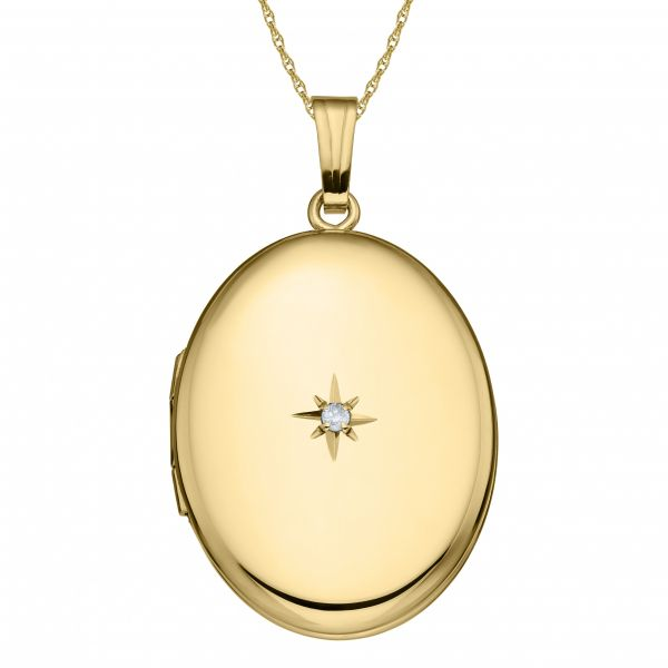 14K Gold Filled Diamond Oval Locket Polly's Fine Jewelry N. Charleston, SC