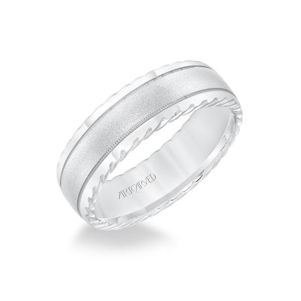 White Gold Carved Wedding Band Polly's Fine Jewelry N. Charleston, SC