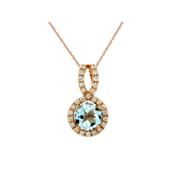 Rose Gold Aquamarine Necklace Polly's Fine Jewelry N. Charleston, SC