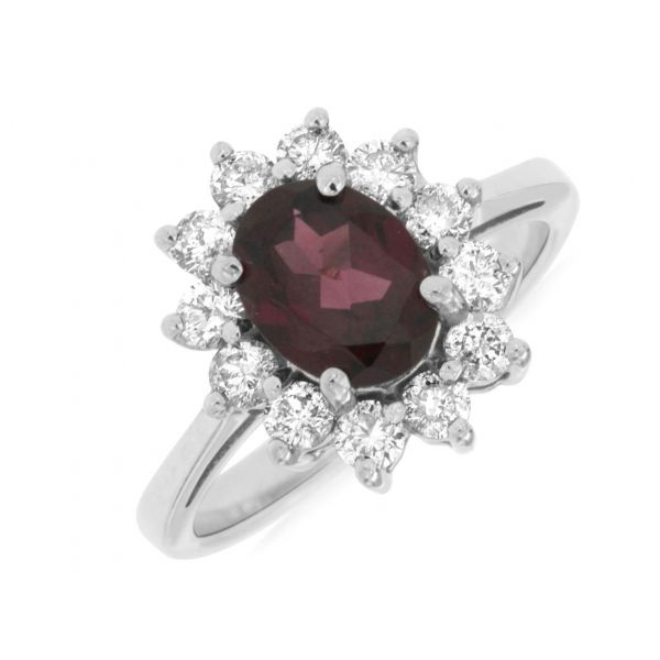 White Gold Rhodolite Garnet Ring Polly's Fine Jewelry N. Charleston, SC