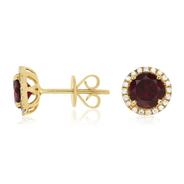 Yellow Gold Rhodolite Garnet Studs Polly's Fine Jewelry N. Charleston, SC
