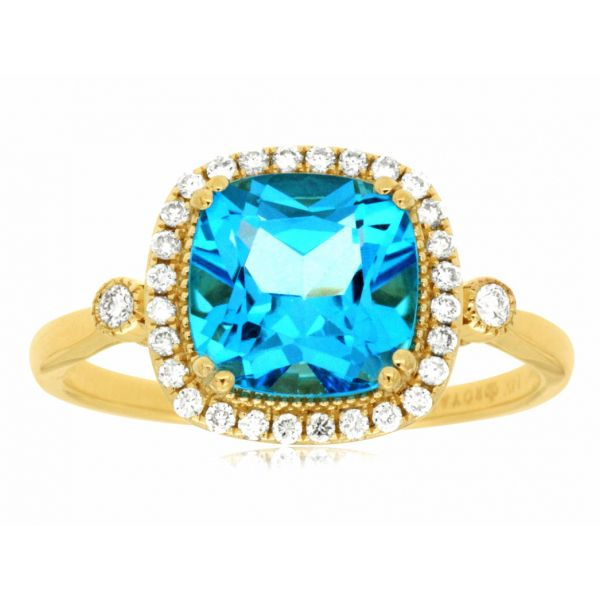 Yellow Gold Blue Topaz Ring Polly's Fine Jewelry N. Charleston, SC