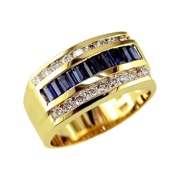 Men's Sapphire & Diamond Ring Polly's Fine Jewelry N. Charleston, SC