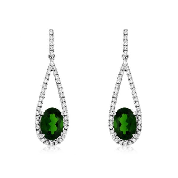 White Gold Chrome Diopside Dangle Earrings Polly's Fine Jewelry N. Charleston, SC