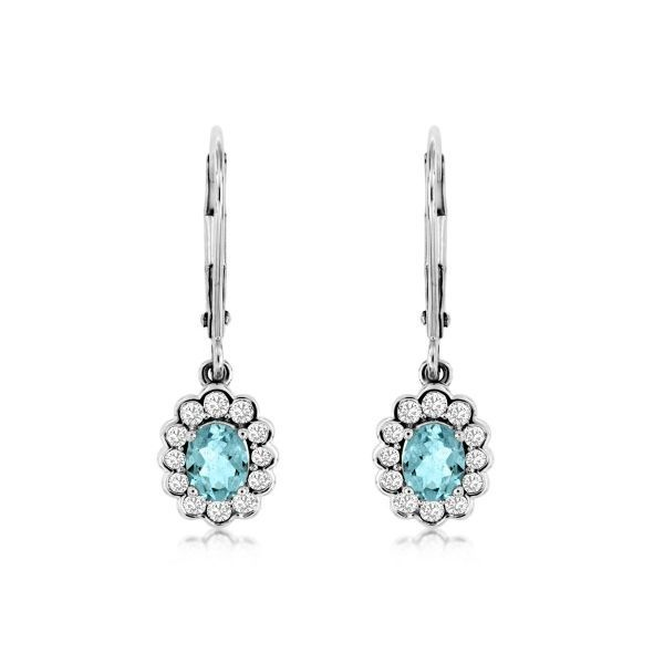 14K White Gold oval Aquamarine & Pave Diamond Dangle Leverback Earrings Polly's Fine Jewelry N. Charleston, SC