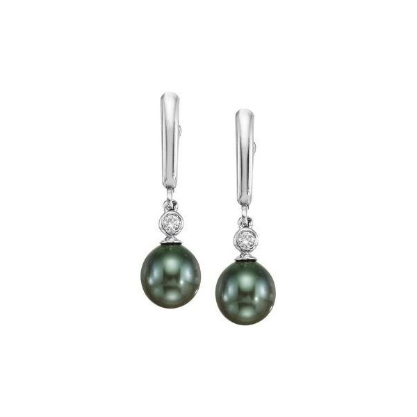 Tahitian Pearl and Diamond Dangle Earrings Polly's Fine Jewelry N. Charleston, SC