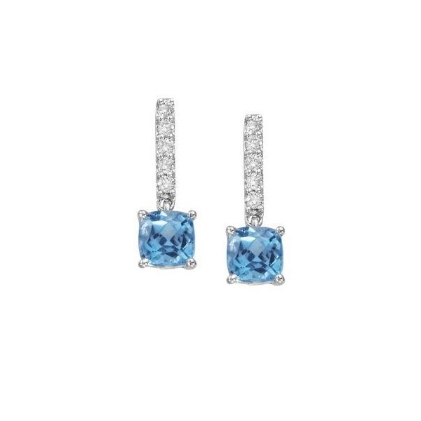 Blue Topaz and Pave Diamond Earrings  Polly's Fine Jewelry N. Charleston, SC