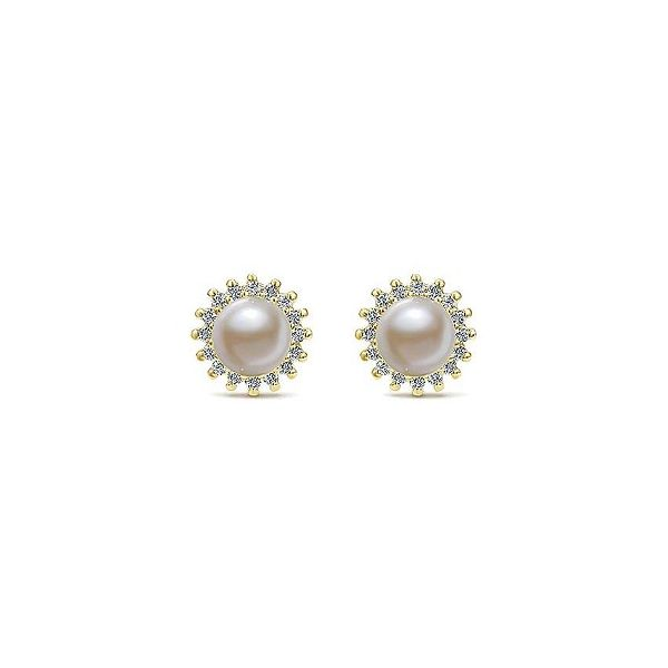 Yellow Gold Diamond Halo Pearl Studs Polly's Fine Jewelry N. Charleston, SC
