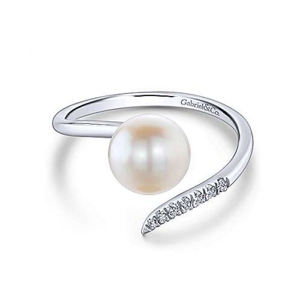 Pearl & Pave Diamond Bypass Ring Polly's Fine Jewelry N. Charleston, SC