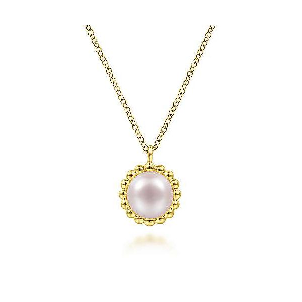 14K Yellow Gold Round Pearl Pendant Necklace with Bujukan Beaded Frame Polly's Fine Jewelry N. Charleston, SC