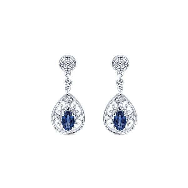 White Gold Sapphire Leverback Earrings Polly's Fine Jewelry N. Charleston, SC