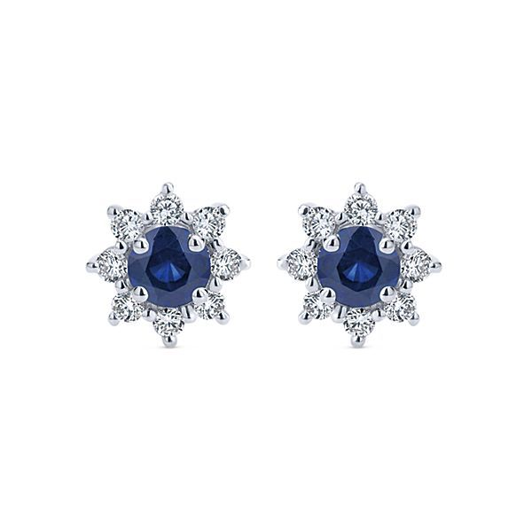 14K White Gold Round Sapphire and Diamond Halo Stud Earrings Polly's Fine Jewelry N. Charleston, SC