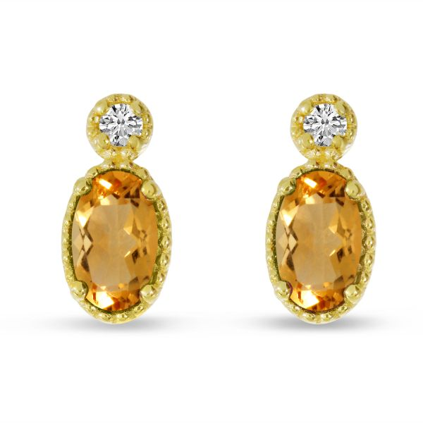 14K Yellow Gold Oval Citrine Millgrain Birthstone Earrings Polly's Fine Jewelry N. Charleston, SC
