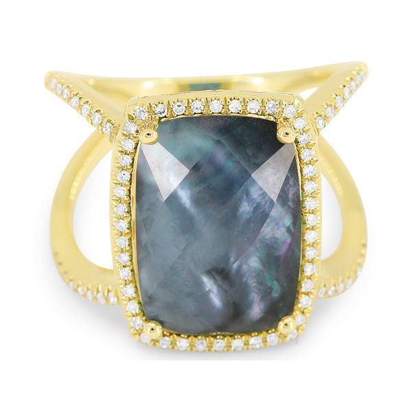 Yellow Gold Moonstone and Pave Diamond Ring  Polly's Fine Jewelry N. Charleston, SC