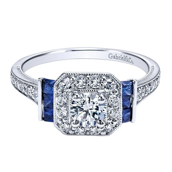 Complete Round Cut .82 ctw White Gold Diamond Halo Engagement Ring with Sapphires Polly's Fine Jewelry N. Charleston, SC