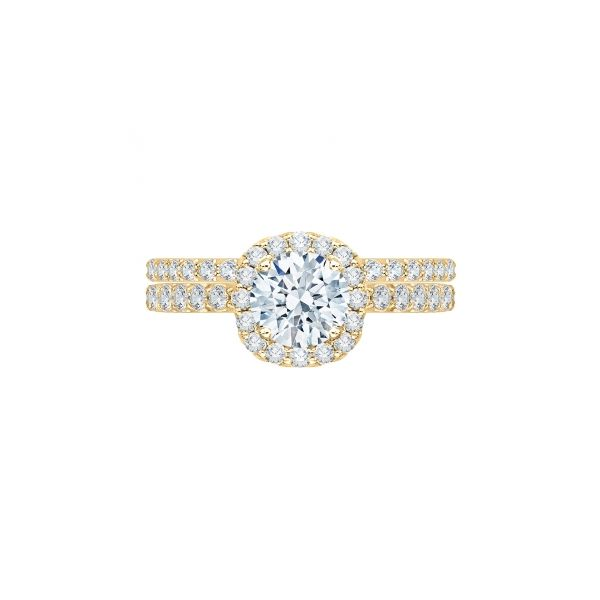 Complete Round Cut 1.47 ctw Yellow Gold Diamond Halo Wedding Set Polly's Fine Jewelry N. Charleston, SC