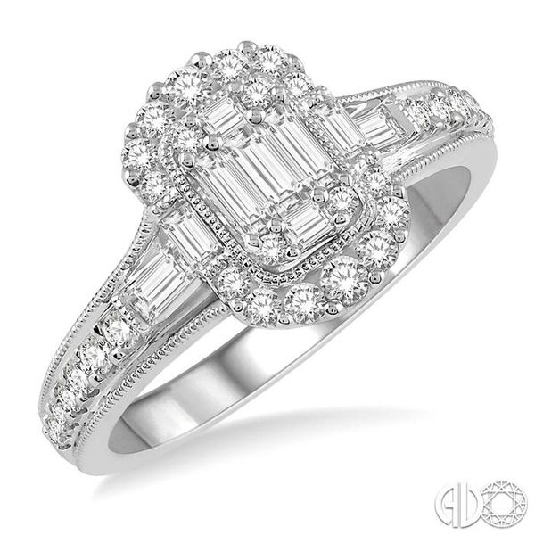 5/8 ct Oblong Mount Round Cut and Baguette Diamond Ring in 14K White Gold Robert Irwin Jewelers Memphis, TN