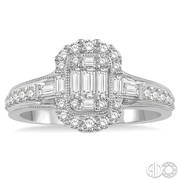 5/8 ct Oblong Mount Round Cut and Baguette Diamond Ring in 14K White Gold Image 2 Robert Irwin Jewelers Memphis, TN