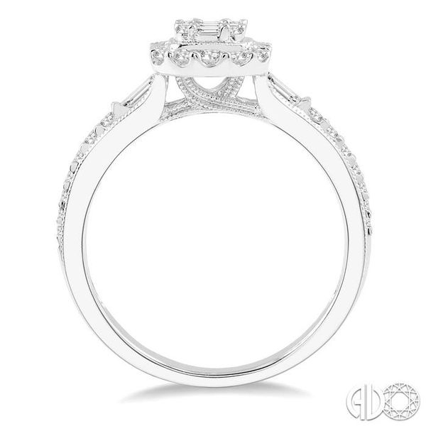 5/8 ct Oblong Mount Round Cut and Baguette Diamond Ring in 14K White Gold Image 3 Robert Irwin Jewelers Memphis, TN