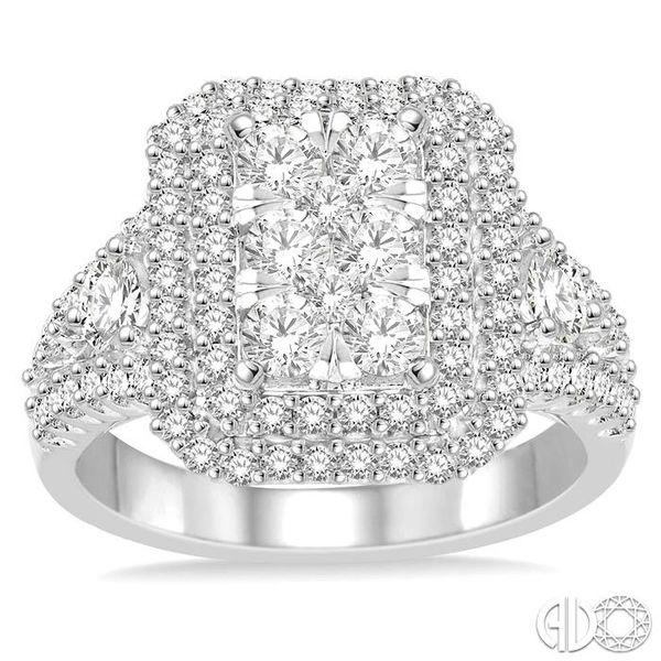 1 1/10 Ctw Round Cut Diamond Octagon Shape Lovebright Ring in 14K White Gold Image 2 Robert Irwin Jewelers Memphis, TN