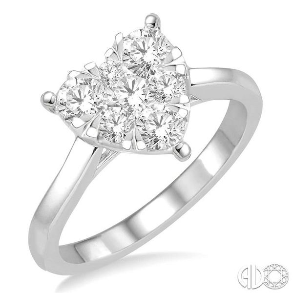 3/4 Ctw Round Cut Diamond Heart Shape Lovebright Ring in 14K White Gold Robert Irwin Jewelers Memphis, TN