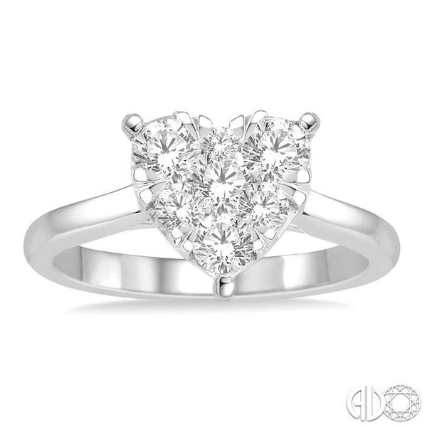 3/4 Ctw Round Cut Diamond Heart Shape Lovebright Ring in 14K White Gold Image 2 Robert Irwin Jewelers Memphis, TN