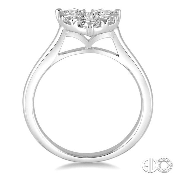 3/4 Ctw Round Cut Diamond Heart Shape Lovebright Ring in 14K White Gold Image 3 Robert Irwin Jewelers Memphis, TN