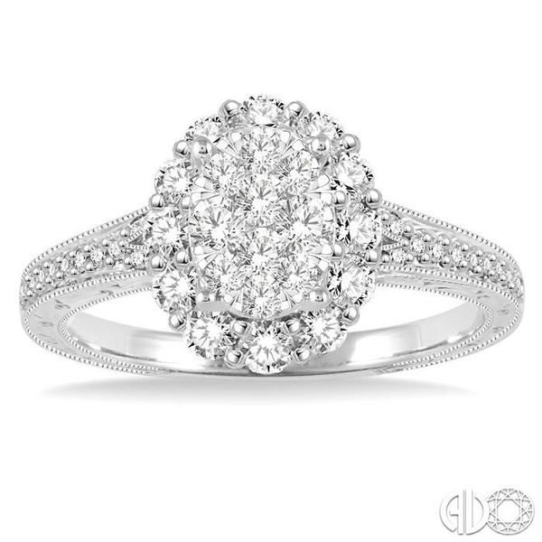 3/4 Ctw Round Cut Diamond Oval Shape Lovebright Ring in 14K White Gold Image 2 Robert Irwin Jewelers Memphis, TN