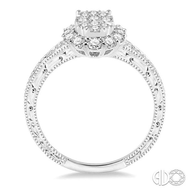 3/4 Ctw Round Cut Diamond Oval Shape Lovebright Ring in 14K White Gold Image 3 Robert Irwin Jewelers Memphis, TN
