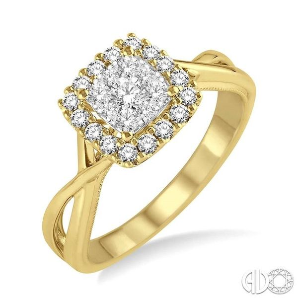 1/2 Ctw Square Shape Round Cut Diamond Lovebright Ring in 14K Yellow and White Gold Robert Irwin Jewelers Memphis, TN