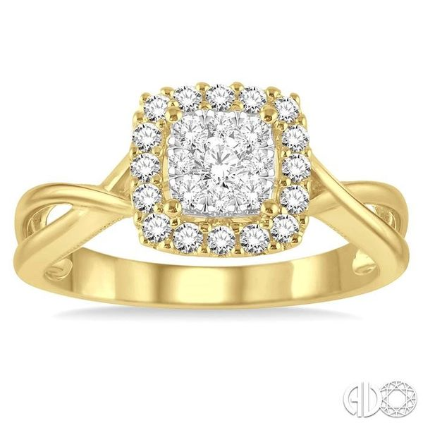 1/2 Ctw Square Shape Round Cut Diamond Lovebright Ring in 14K Yellow and White Gold Image 2 Robert Irwin Jewelers Memphis, TN