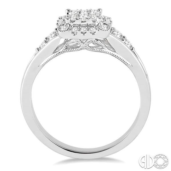 1/2 Ctw Square Shape Round Cut Diamond Lovebright Ring in 14K White Gold Image 3 Robert Irwin Jewelers Memphis, TN