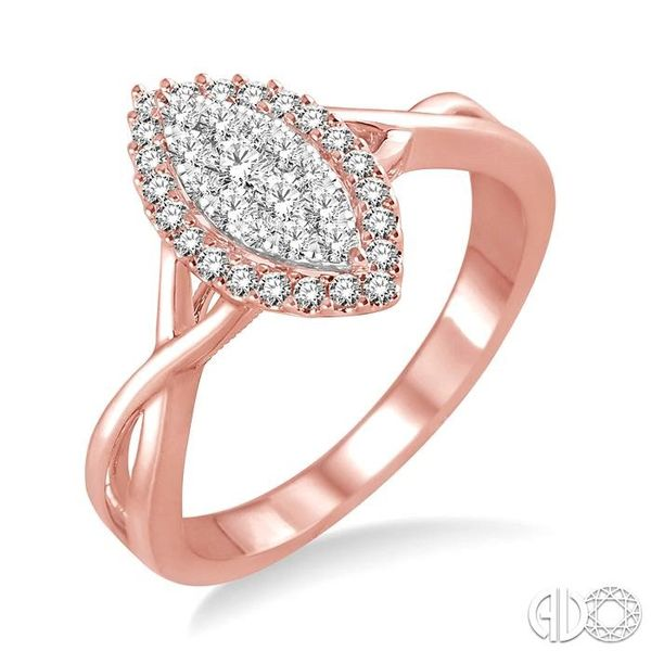 1/3 Ctw Marquise Shape Round Cut Diamond Lovebright Ring in 14K Rose and White Gold Robert Irwin Jewelers Memphis, TN