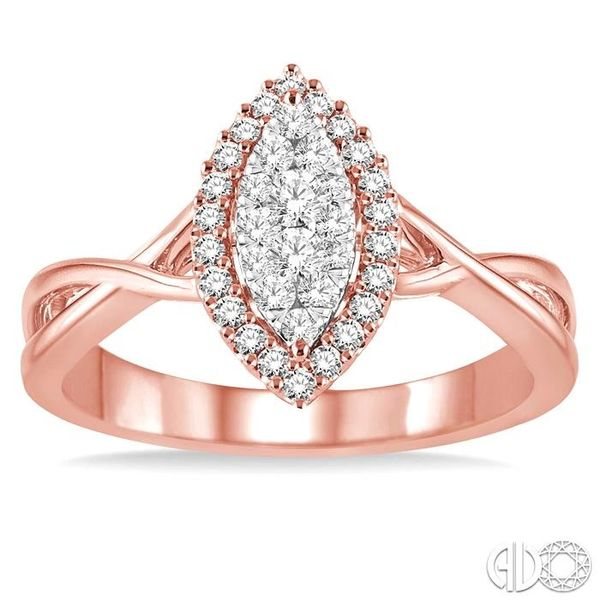 1/3 Ctw Marquise Shape Round Cut Diamond Lovebright Ring in 14K Rose and White Gold Image 2 Robert Irwin Jewelers Memphis, TN