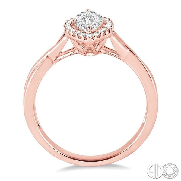 1/3 Ctw Marquise Shape Round Cut Diamond Lovebright Ring in 14K Rose and White Gold Image 3 Robert Irwin Jewelers Memphis, TN