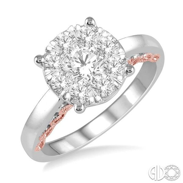 1 Ctw Round Diamond Lovebright Solitaire Style Engagement Ring in 14K White and Rose Gold Robert Irwin Jewelers Memphis, TN