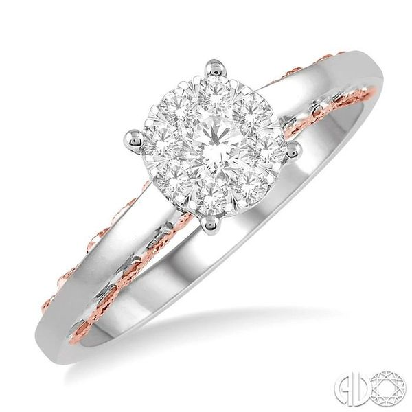 1/3 Ctw Round Cut Diamond Lovebright Ring in 14K White and Rose Gold Robert Irwin Jewelers Memphis, TN