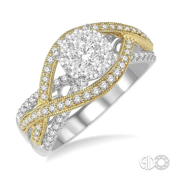 7/8 Ctw Round Diamond Lovebright Crossover Shank Engagement Ring in 14K White and Yellow Gold Robert Irwin Jewelers Memphis, TN