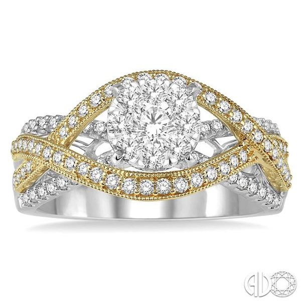 7/8 Ctw Round Diamond Lovebright Crossover Shank Engagement Ring in 14K White and Yellow Gold Image 2 Robert Irwin Jewelers Memphis, TN