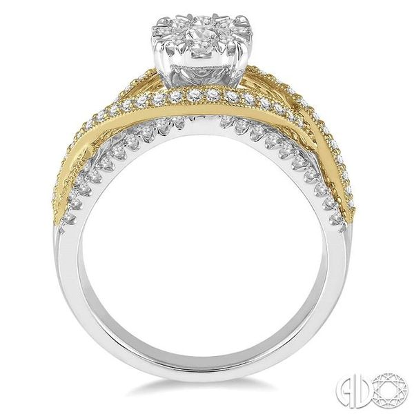 7/8 Ctw Round Diamond Lovebright Crossover Shank Engagement Ring in 14K White and Yellow Gold Image 3 Robert Irwin Jewelers Memphis, TN
