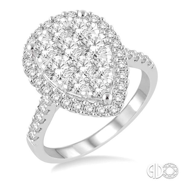 2 Ctw Pear Shape Diamond Lovebright Ring in 14K White Gold Robert Irwin Jewelers Memphis, TN