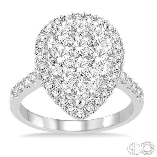 2 Ctw Pear Shape Diamond Lovebright Ring in 14K White Gold Image 2 Robert Irwin Jewelers Memphis, TN