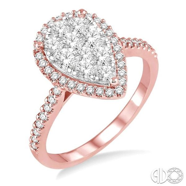 1 Ctw Pear Shape Diamond Lovebright Ring in 14K Rose and White Gold Robert Irwin Jewelers Memphis, TN