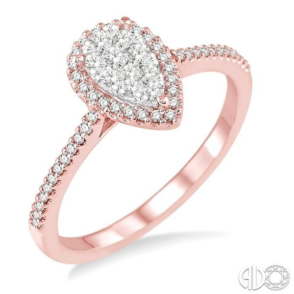 1/3 Ctw Pear Shape Diamond Lovebright Ring in 14K Rose and White Gold Robert Irwin Jewelers Memphis, TN