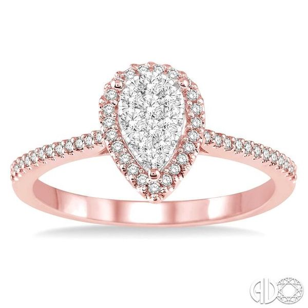 1/3 Ctw Pear Shape Diamond Lovebright Ring in 14K Rose and White Gold Image 2 Robert Irwin Jewelers Memphis, TN