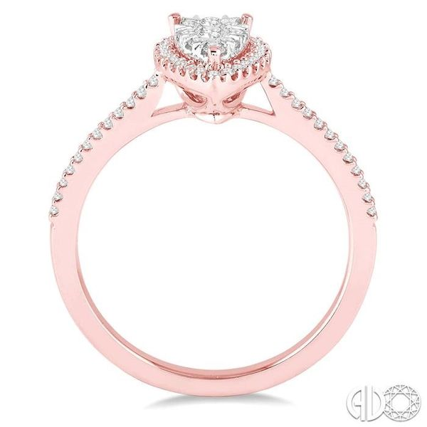 1/3 Ctw Pear Shape Diamond Lovebright Ring in 14K Rose and White Gold Image 3 Robert Irwin Jewelers Memphis, TN