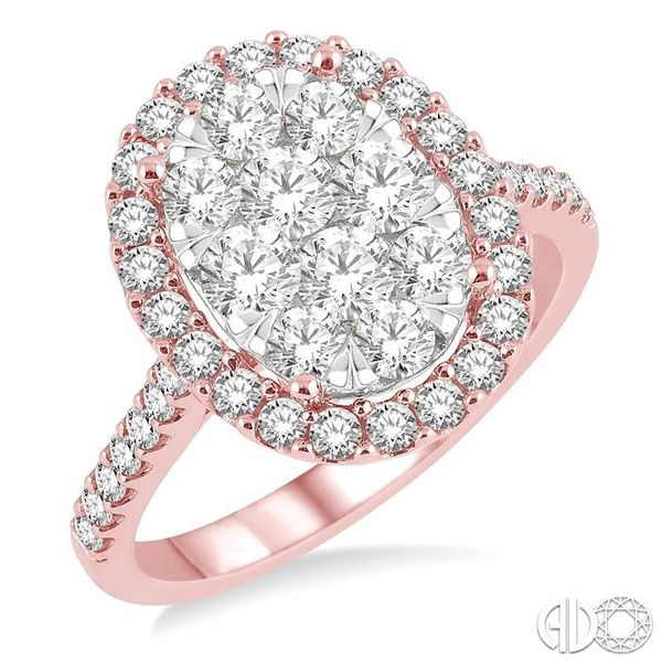 1 1/2 Ctw Oval Shape Diamond Lovebright Ring in 14K Rose and White Gold Robert Irwin Jewelers Memphis, TN