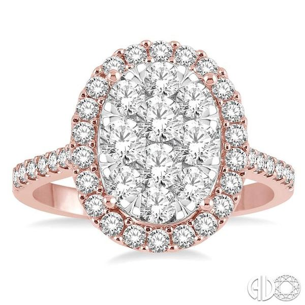 1 1/2 Ctw Oval Shape Diamond Lovebright Ring in 14K Rose and White Gold Image 2 Robert Irwin Jewelers Memphis, TN