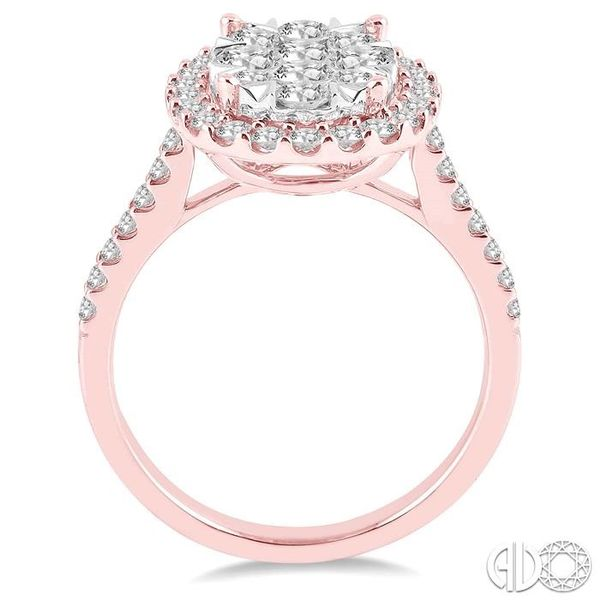 1 1/2 Ctw Oval Shape Diamond Lovebright Ring in 14K Rose and White Gold Image 3 Robert Irwin Jewelers Memphis, TN