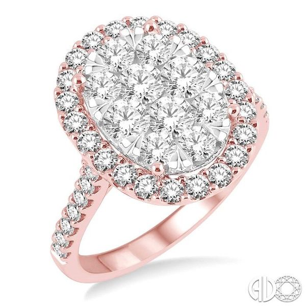 2 Ctw Oval Shape Diamond Lovebright Ring in 14K Rose and White Gold Robert Irwin Jewelers Memphis, TN